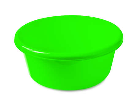 Green washbowl or mixing bowl isolated on the white background Stock Photo
