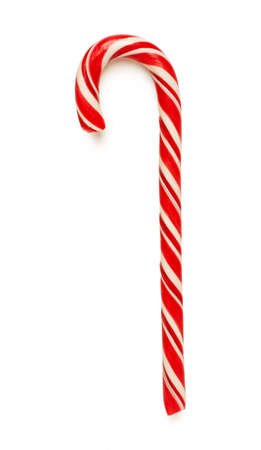 Close up of candy cane isolated on white background 스톡 콘텐츠