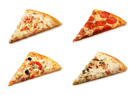 Four different pieces of pizza isolated on a white background 스톡 콘텐츠