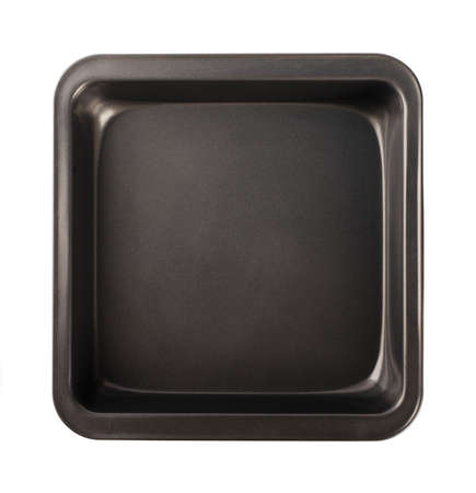 Baking tray with non-stick coating, top view, close-up isolated on a white background Stockfoto