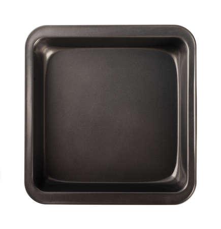 Teglia da forno con rivestimento antiaderente, vista dall'alto, primo piano isolato su sfondo bianco Archivio Fotografico