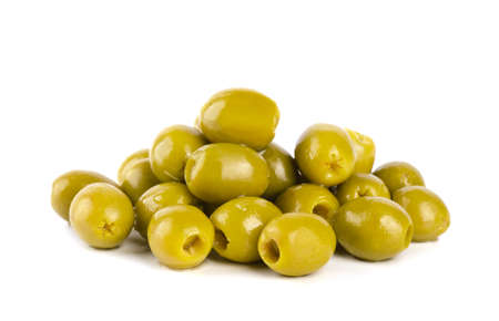 Green olives isolated on a white background