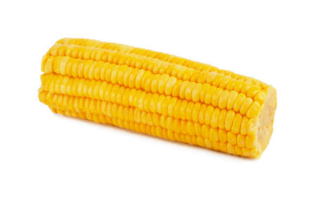 Cob of sweet boiled corn isolated on white background