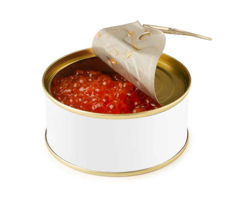 Opened tincan of red caviar mock-up isolated on a white background. Salmon caviar. Sea fish delicacy in can.