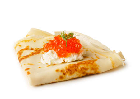 Pancake with red caviar and cream cheese isolated on a white background Reklamní fotografie