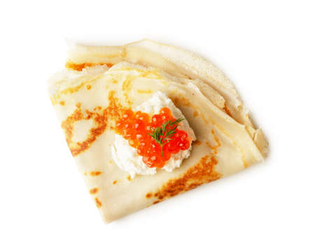 Pancake with red caviar and cream cheese. Russian cuisine. Maslenitsa. Top view isolated on a white background