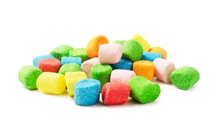 Colorful mini fluffy marshmallows isolated on white background