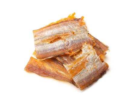Dried fish fillets isolated on a white background