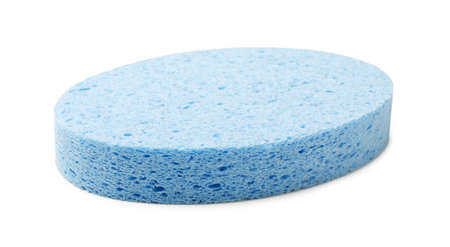 Oval blue cellulose facial sponge isolated on white background