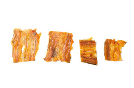 Dried smoked fish isolated on a white background