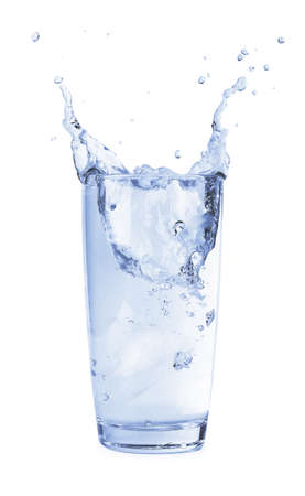 Ice cubes splashing into glass of water, for design mockup isolated on white background Imagens