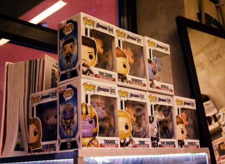 Moscow, Russia - July 27, 2019: Funko POP! Avengers toys on display for sale in the store.