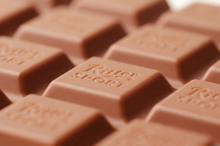 RUSSIA, MOSCOW - October 19, 2019: Ritter Sport milk chocolate bar macro. Ritter Sport chocolate bar made by Alfred Ritter GmbH & Co Editöryel