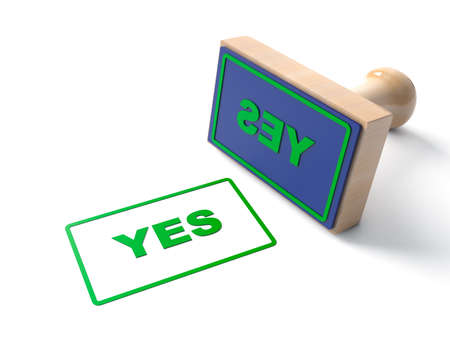 Green 3d Stamp stamping that says with text YES and lackered Wooden and rubber Stamper Isolated on White Background. 3d illustration Stock Photo