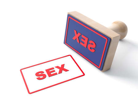 Stamp with text SEX with wooden and rubber stamper. Valentine day, amour, dating, couple, lovers fondness theme. Isolated on white background. 3d illustration