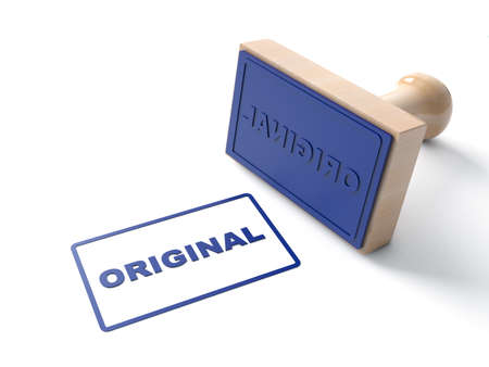 Blue 3d Stamp stamping that says with text Original and lacquered Wooden and rubber Stamper Isolated on White Background. 3d illustration