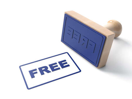 Blue 3d Stamp stamping that says text Free and lacquered Wooden and rubber Stamper Isolated on White Background. 3d illustration
