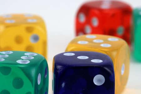 colored dice Stok Fotoğraf