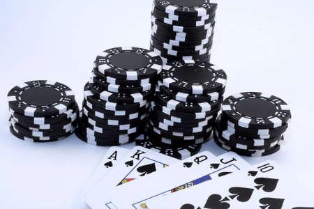 Royal Flush Spades with chips Banco de Imagens