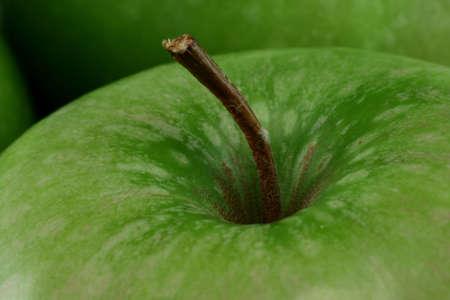 granny smith: Close up of granny smith apple