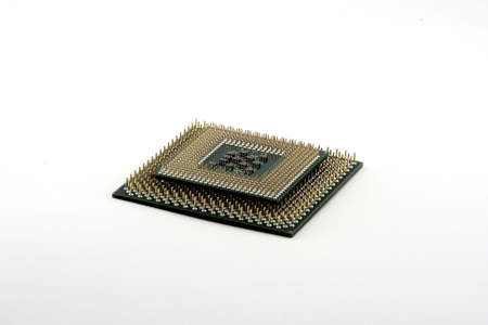 Smaller CPU ontop of larger one presented on a white background