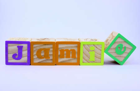 spelled: The word Jamie spelled out with block letters on a white background