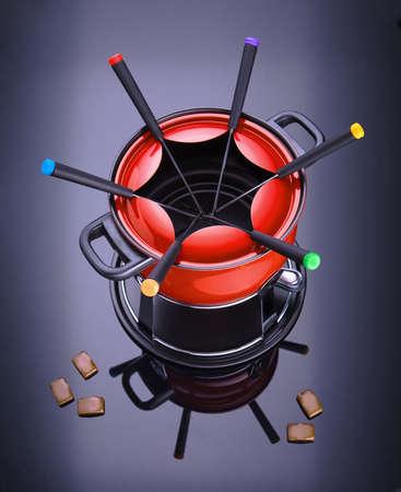 red fondue on dark background