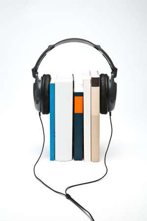 headphones on books Stock Photo