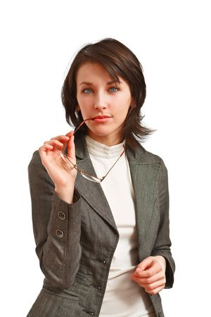 thoughtful business woman with glasses in hand Stock Photo - 6601441