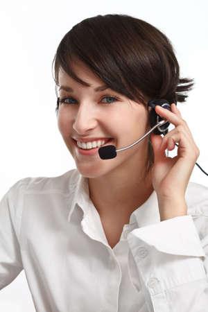 joyful woman operator with headset - microphone and headphones, on white Stock Photo - 6601483