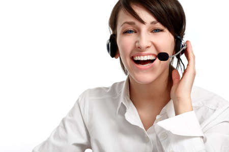 joyful woman operator with headset - microphone and headphones, on white Stock Photo - 6601464