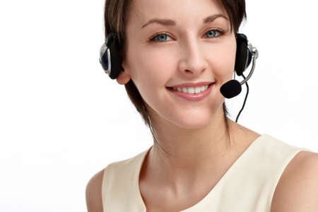 smiling woman operator with headset - microphone and headphones, on white Stock Photo - 6601448