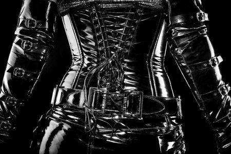 black latex corset, back view, high gloss photo