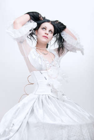 gothic girl in white dress, cold ice queen