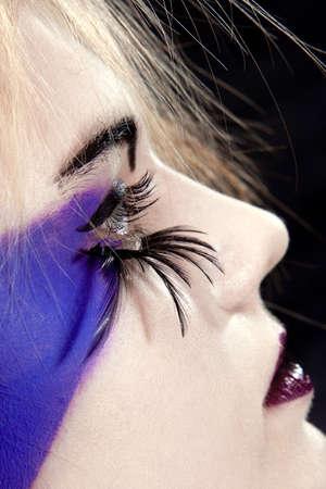 girls face with original make-up - fake eyelashes Stock Photo