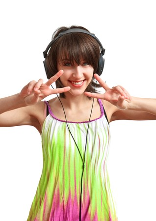 girl with headphones on - smiling and dancing