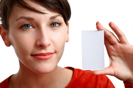 face and hand of beautiful girl holding an empty card  Stock Photo - 7434262
