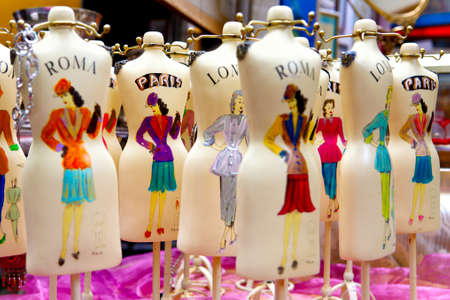 old fashioned colorful mannequins - shallow depth of field -