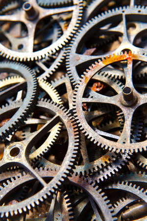 many old sprockets - parts of broken watches Stock Photo