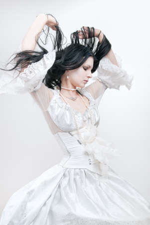 ice queen: gothic girl in white dress, cold ice queen