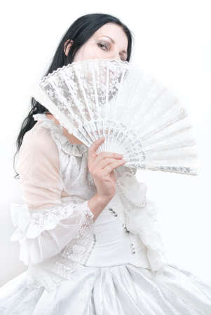 gothic girl in white dress, cold ice queen with fan