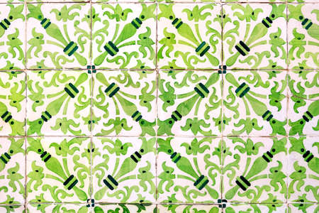 green colored azulejos - old hand made tiles from Lisbon, Portugal