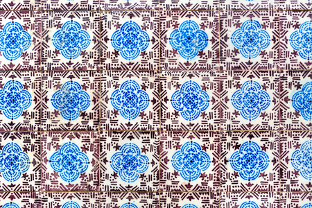 very old - with scratches and dirt - ancient azulejos - hand painted tiles from Lisbon, Portugal