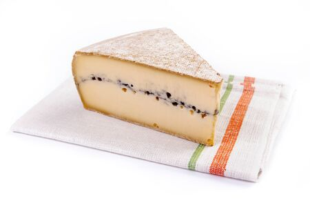 tela algodon: piece of french cheese - morbier on cotton cloth
