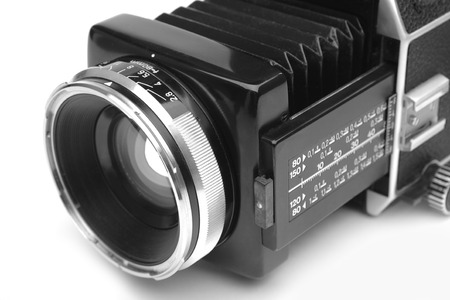 shutter aperture: old medium format camera, with macro lens on