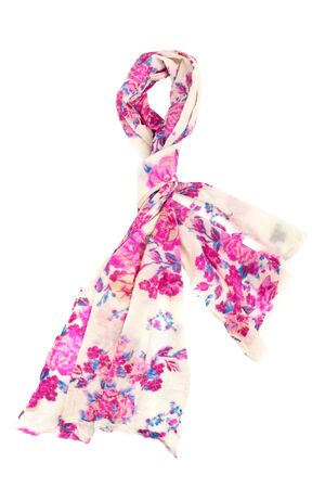 bright scarf with pink floral design on white background, isolated Stock Photo