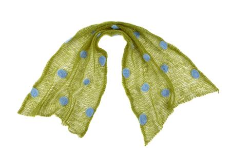 tejido de lana: Bufanda hecha de tejido de punto de punto mohair verde sobre fondo blanco, aislado