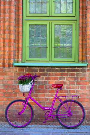 pink bike with white basket full of flowers standing by the brick wall next to green windows