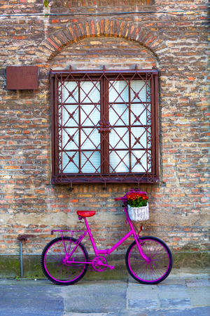 pink bike with white basket full of flowers standing by the brick wall next to brown window
