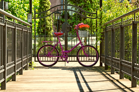 pink bike with white basket full of flowers standing by the metal barrier in the city